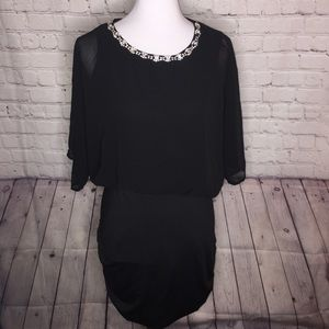 San Joy Black Jeweled Neckline Dress